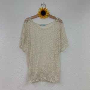 Maurice's Ivory Lace Sheer Blouse